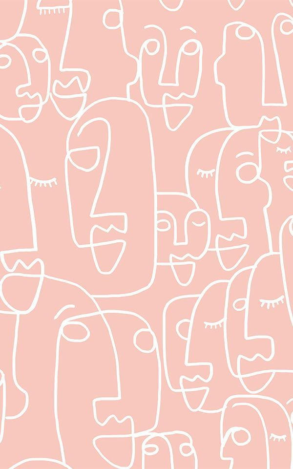Fototapete Großes Gesicht Strichzeichnung Pink   Murals Wallpaper