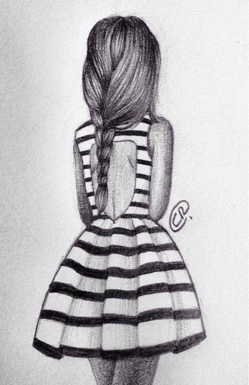 Girl fashion dress drawing stripes
