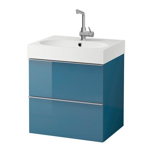 GODMORGON   BRÅVIKEN Mobile per lavabo con 2 cassetti, grigio lucido - ikea meuble salle de bain godmorgon