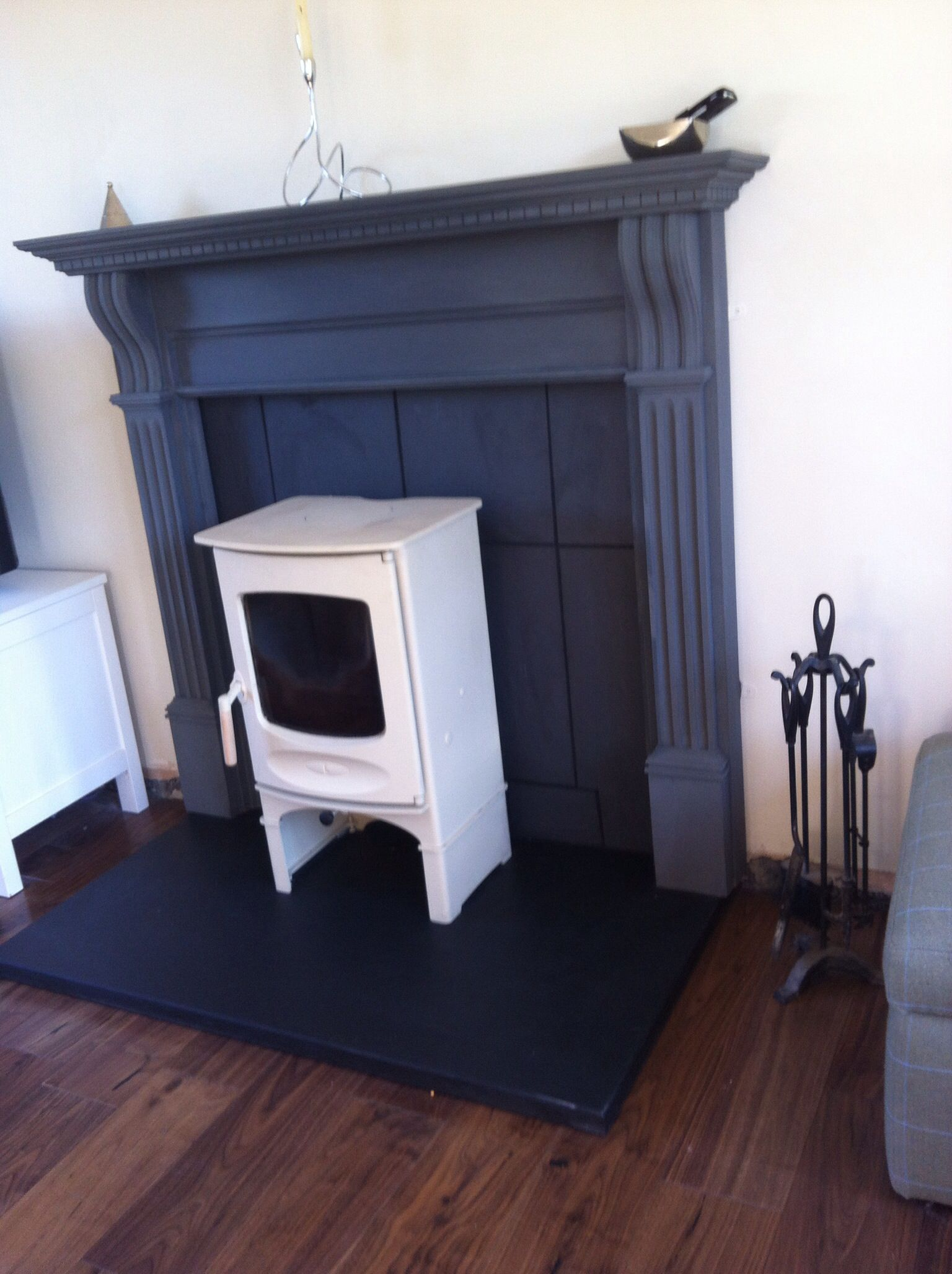 Painted wooden fire surround using Annie Sloan paint, welsh slate ...