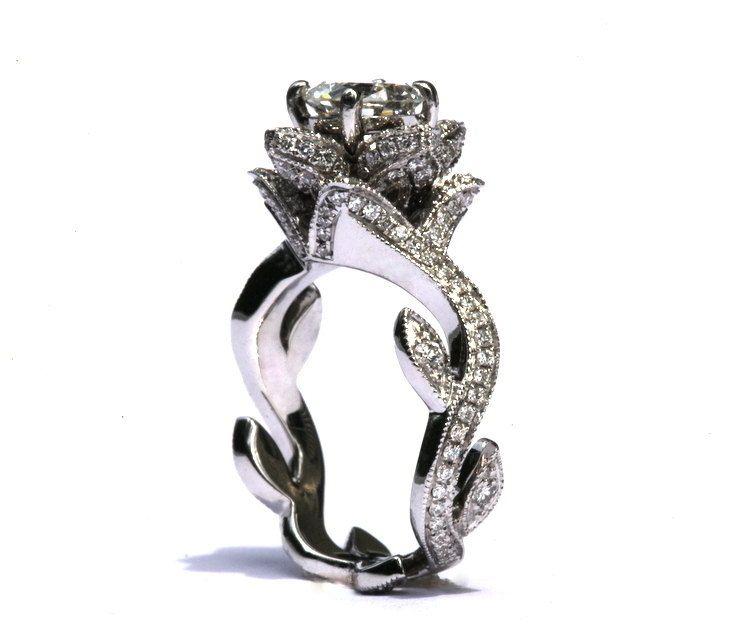 BLOOMING Work Of Art Milgrain Flower Rose Lotus Diamond Engagement