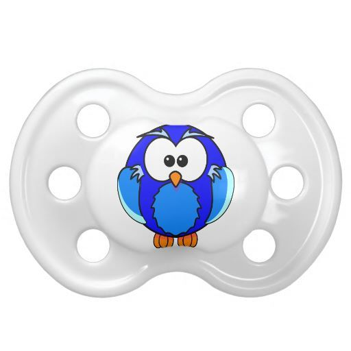Cute Blue Owl Baby Pacifier | Unique Baby Pacifiers ...