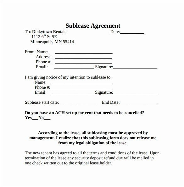 Sublease Agreement Template Word Best Of 23 Sample Free Sublease Agreement Templates To Download Templates Contract Template Agreement