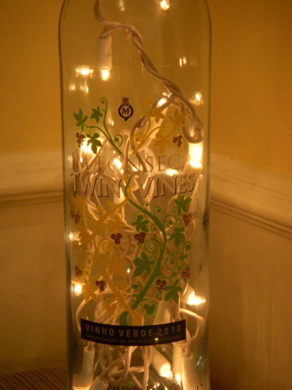 Recycled Wine Bottle Lamp Embossed With by EcoArtbyNancy on Etsy, $25.00