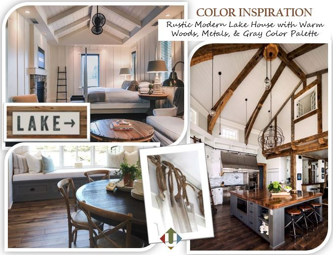 color concept board for a rustic yet modern lake house on lake house interior color schemes id=20476