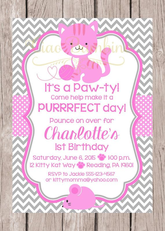 Printable kitten birthday party invitation personalized cat printable kitten birthday party invitation pink by ciaobambino filmwisefo Image collections
