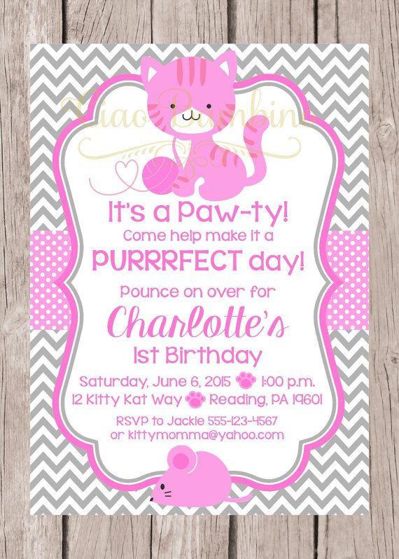 PRINTABLE Kitten Birthday Party Invitation Personalized Pink – Cat Birthday Invitations