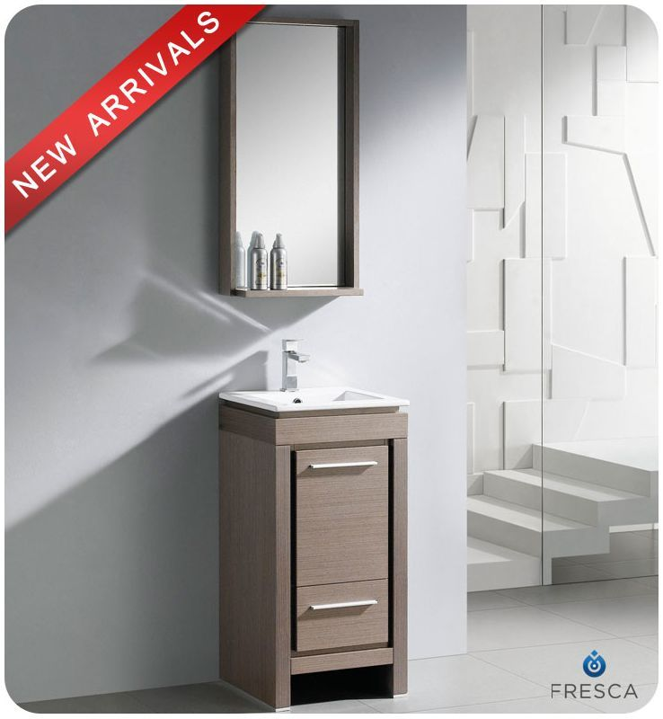 Fresca Fvn8118 15 3 4 Wide Free Standing Vanity Set With Plywood Cabinet Ceram Gray Oak Fixture Single Small Bathroom