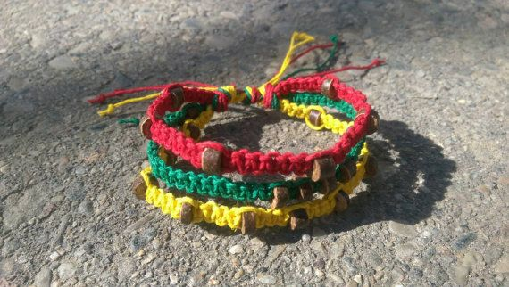 Check out this item in my Etsy shop https://www.etsy.com/listing/225696244/rasta-hemp-bracelet-unisex-adjustable