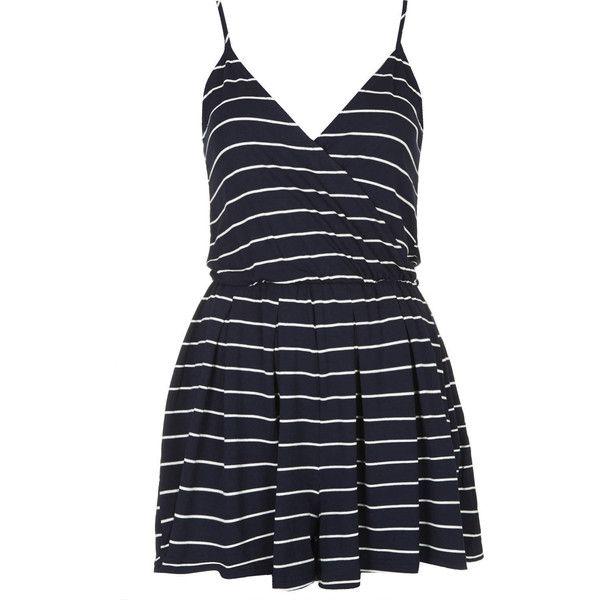 2610290708d TOPSHOP Stripe Jersey Wrap Playsuit (2