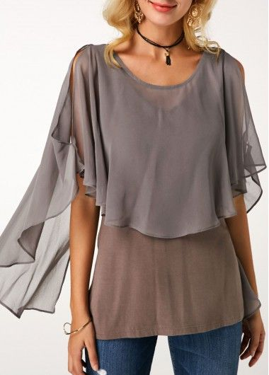 75c5f3b8a07 Printed Split Neck Button Detail Pleated Blouse