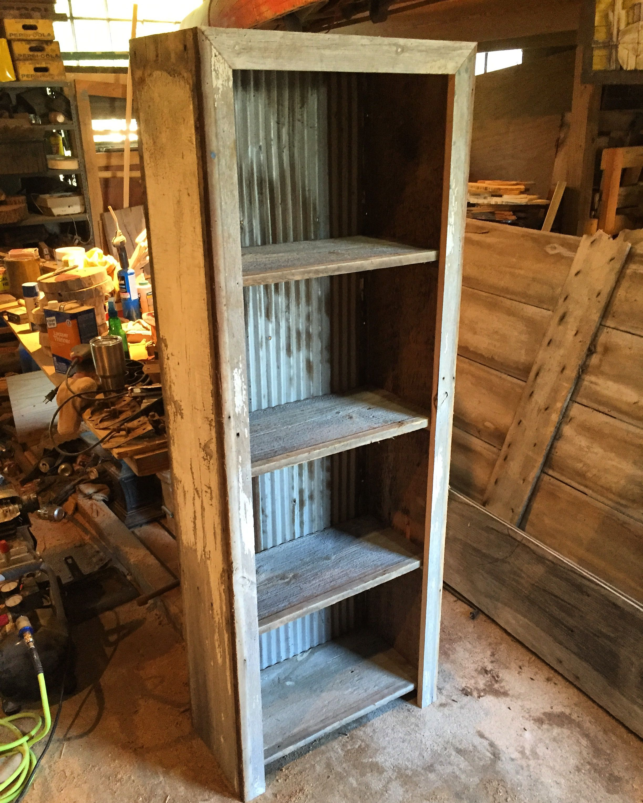 Barn Wood Furniture Ideas: Barn Wood With White Chippy Paint And Corrugated Metal