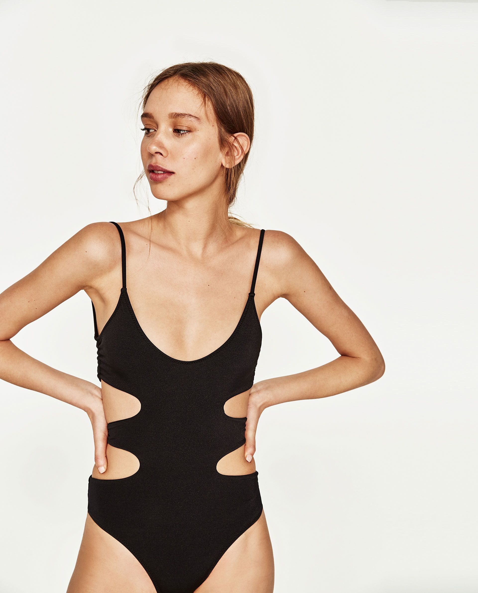 d09345bf5d5 Image 1 of SWIMSUIT WITH SIDE OPENINGS from Zara   Clothes horse in ...