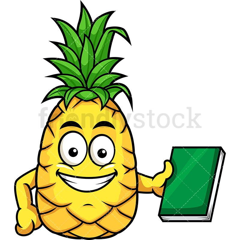 Pineapple smiling. Holding book in clip