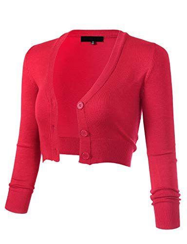 0c207afd0e1 ARC Studio Women's Solid Button Down 3/4 Sleeve Cropped Bolero Cardigans (S-