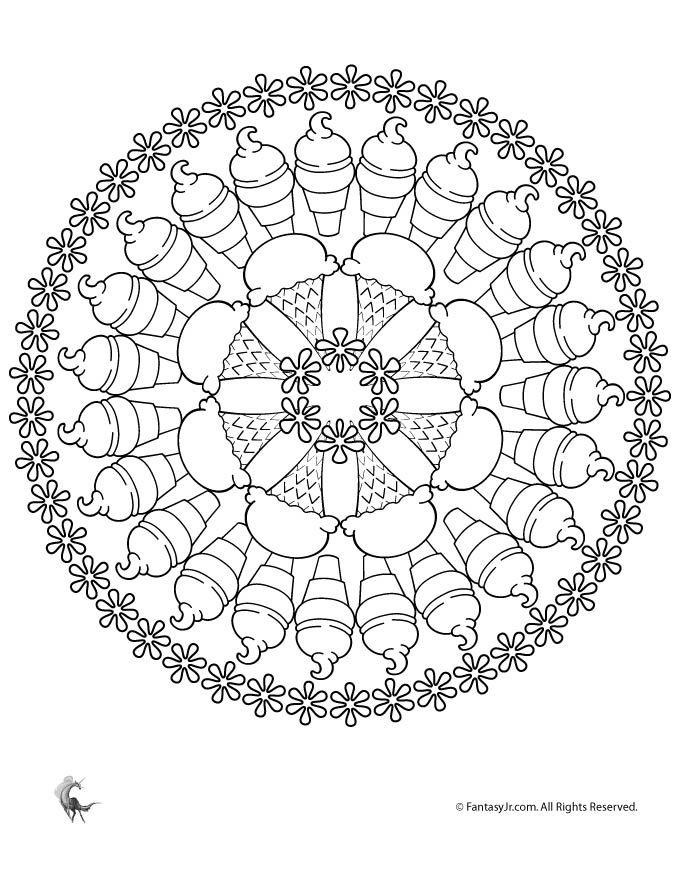 Ice Cream Mandala Coloring Page - Woo! Jr. Kids Activities