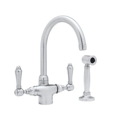Rohl One Hole Country Kitchen Cspout Faucet Sidespray Metal Lever Magnificent Rohl Kitchen Faucet Decorating Design