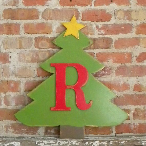 Wooden Christmas Tree with Red Letter  Gold Star by gracegraffiti