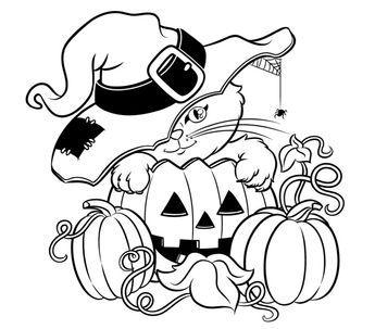 Katze Und Kurbis Zum Ausmalen Susses Bild Halloween Coloring Book Pumpkin Coloring Pages Halloween Coloring Sheets