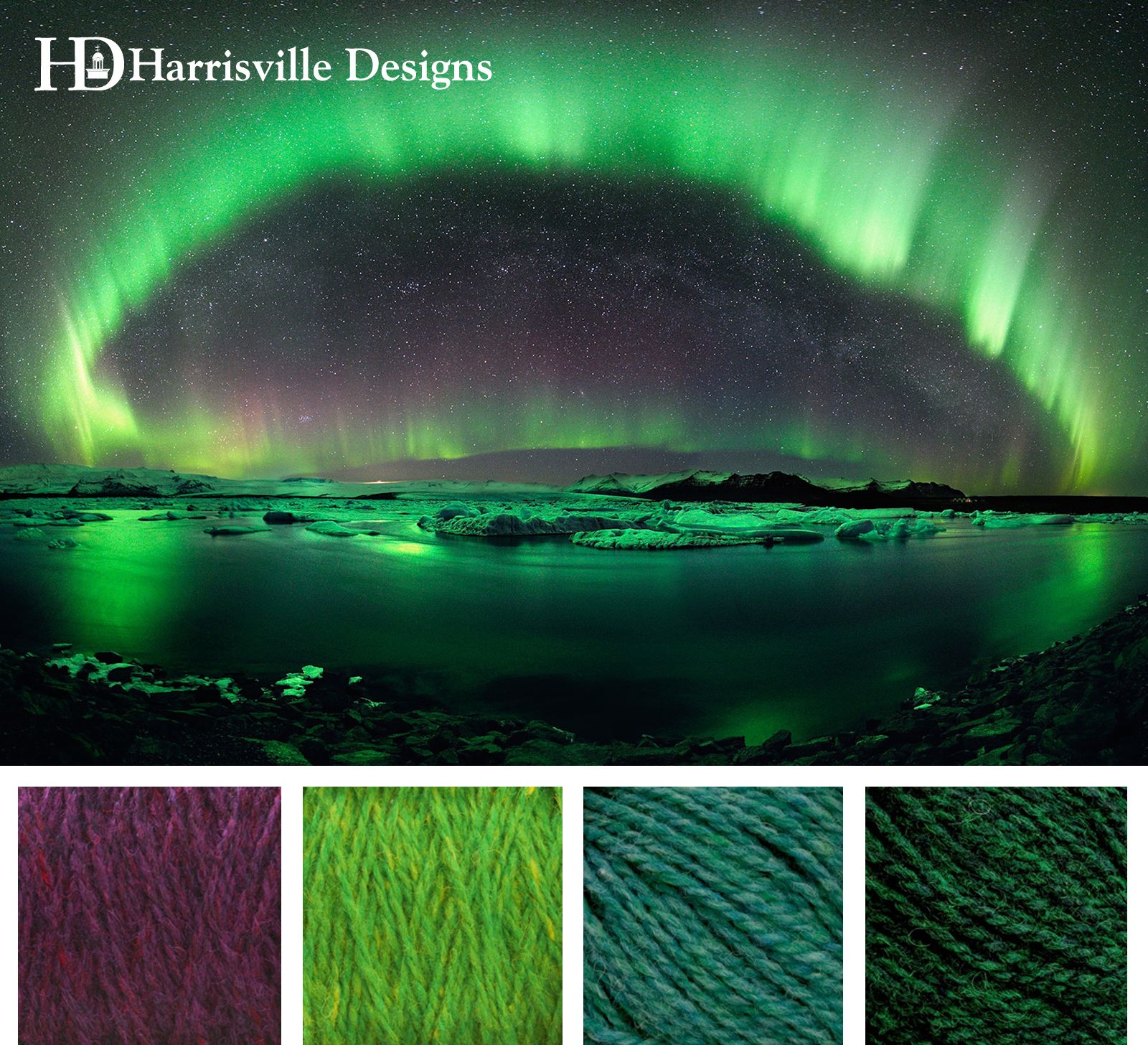 Northern Lights Color Palette. Shetland Yarn: Black Cherry, Kiwi, Sea Green, and Evergreen