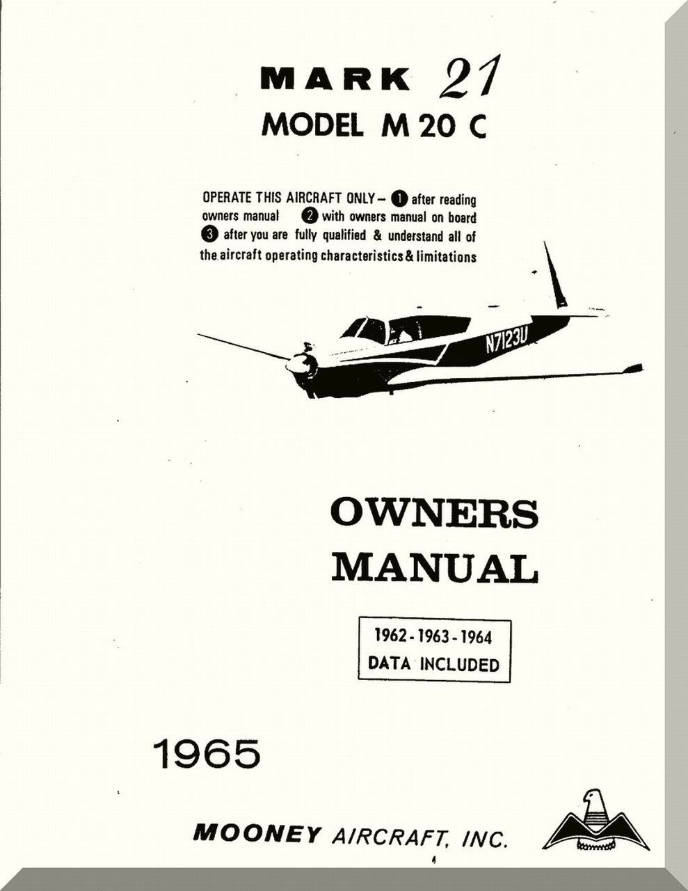Mooney M 20 C Aircraft Owner Manual 1965 Owners Manuals Mooney Aircraft Aircraft