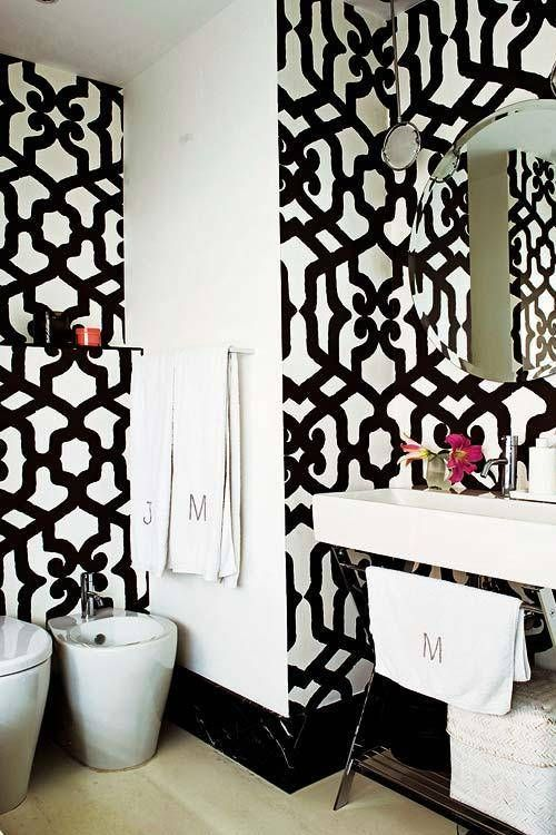 Black And White Wallpaper For Bathrooms Home Designs Wallpapers White Decor Small Bathroom Interior Black And White Decor