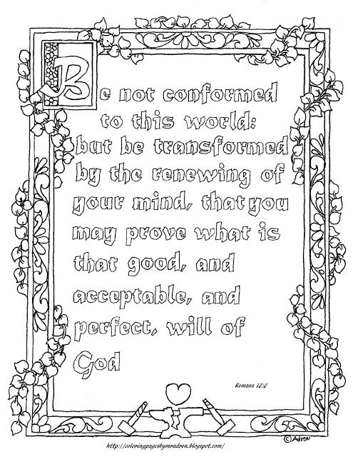 Coloring Pages For Kids By Mr Adron Free Printable Romans 122 Page Be Not Conformed
