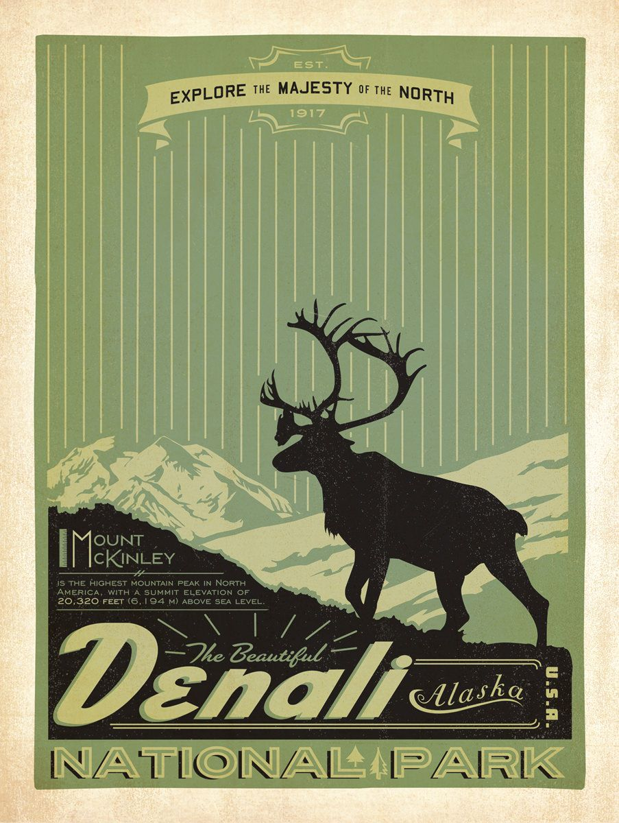 Vintage National Park Posters Part - 32: Denali National Park Poster By Anderson Design Group