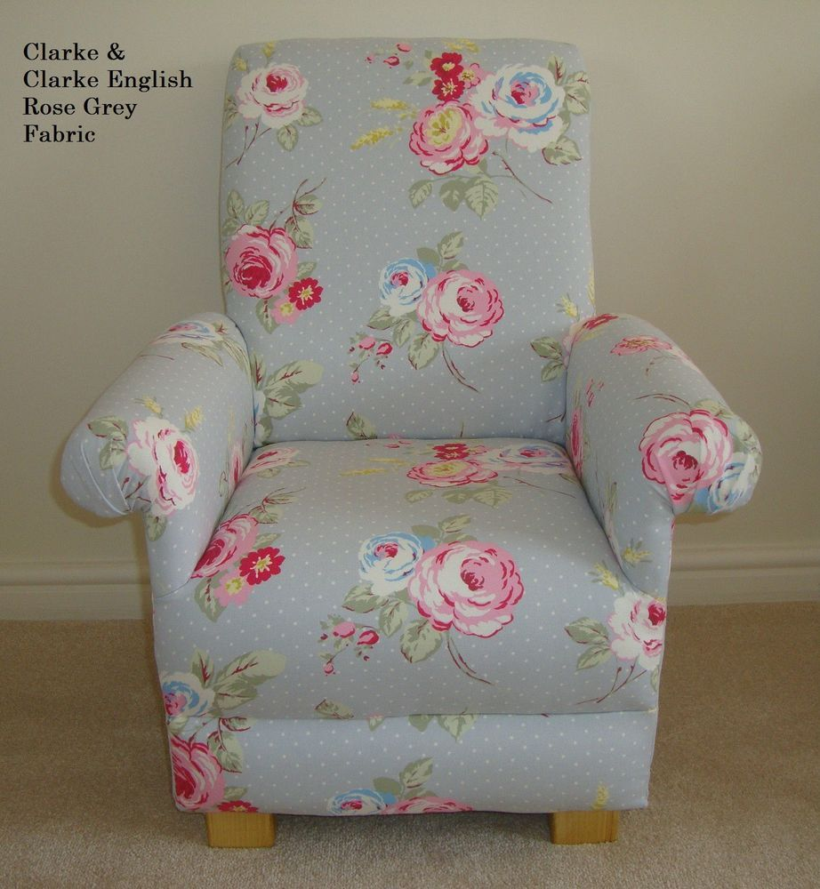 Clarke English Rose Grey Child Chair Children Armchair Nursery Pink Roses  Kids