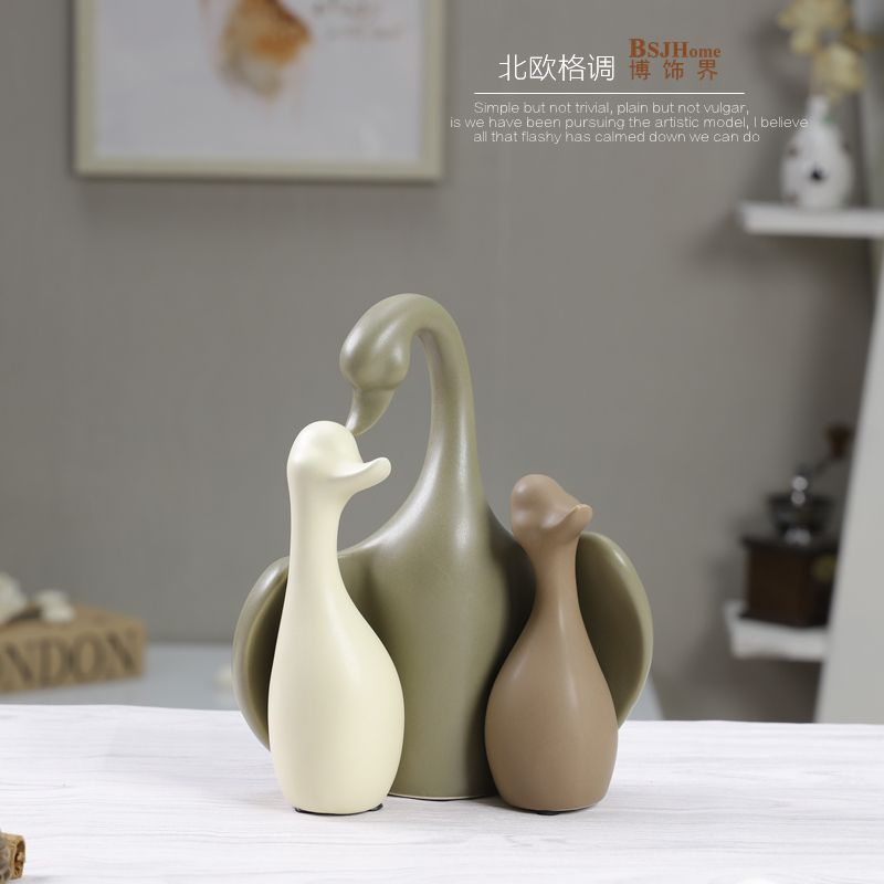 Httpsitemtaobaoitemmspma230r11460cbhzab 286 minimalist ceramic swan family design home decor crafts room decoration handicraft porcelain animal figurines wedding decoration junglespirit Images