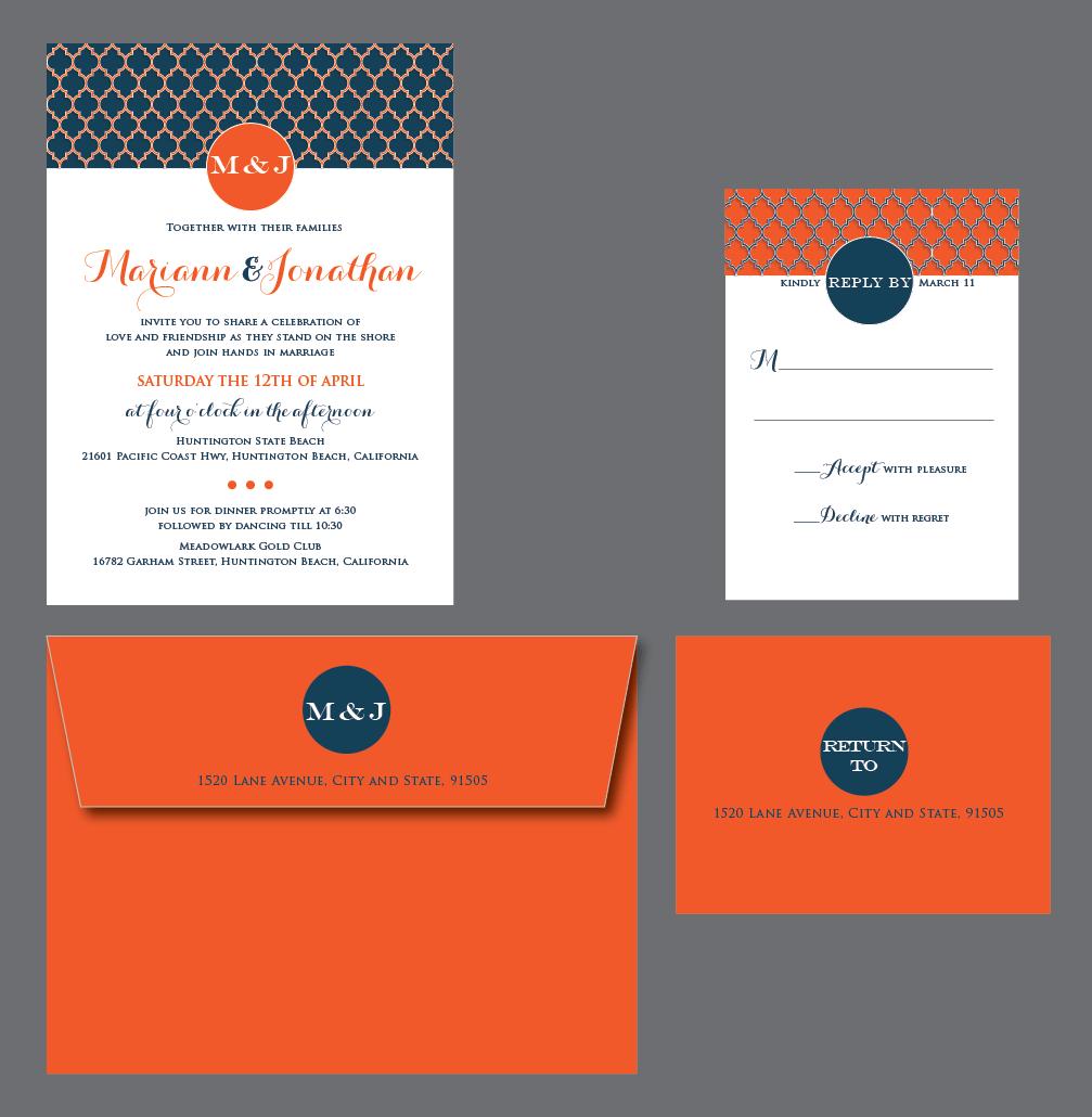 Geometric pattern, orange, navy, white wedding invitation. | Simply ...