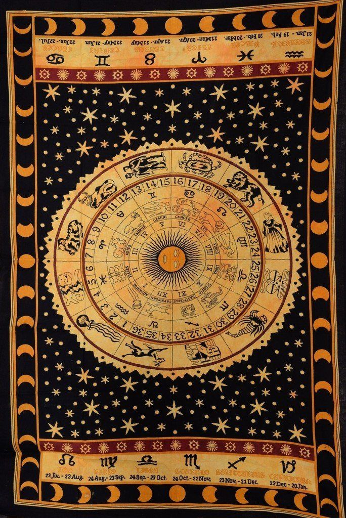 Indian Zodiac Astrology Horoscope Tapestry Small Wall Hanging Hippie Bedspread