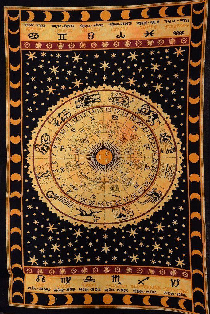Amazon Black Zodiac Sign Celestial Tapestry Wall