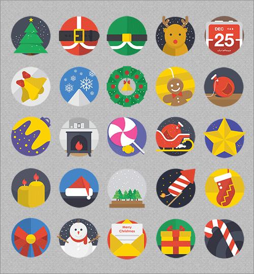 非常にかわいくデザインされたクリスマス用の無料アイコン素材