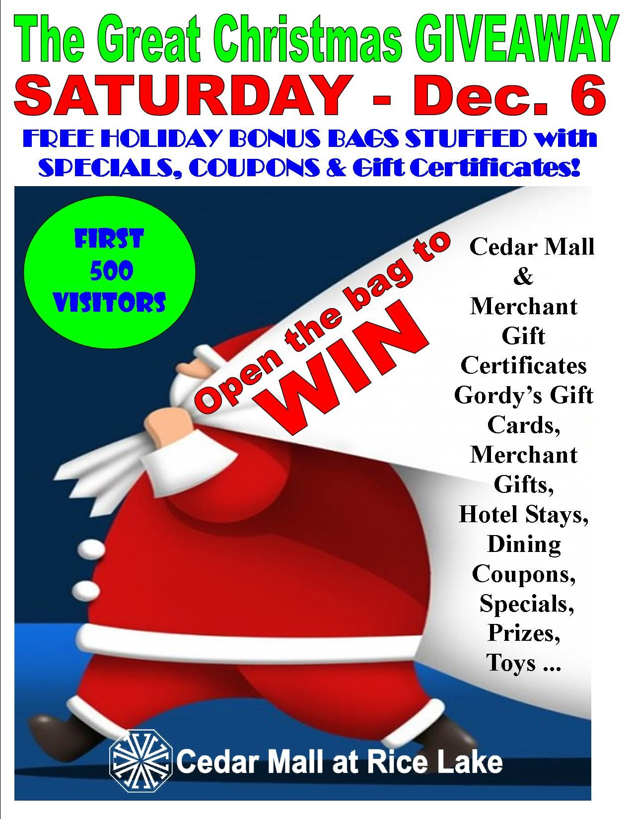 The GREAT CHRISTMAS GIVEAWAY is coming back to the Cedar