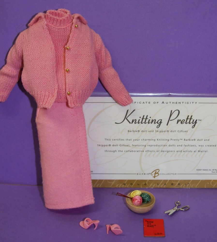 Barbie KNITTING PRETTY PINK FLANNEL SHEATH SKIRT #957 Vintage Reproduction REPRO