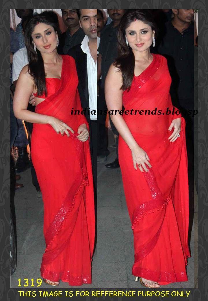 e523c458ca Kareena Kapoor Bollywood Style Red Chiffon Saree - 1319 at Rs 2,031.00