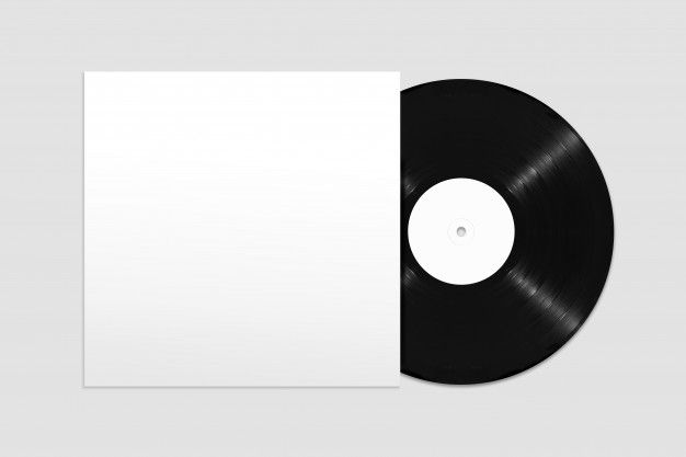 Mockup Of Top View Blank Vinyl Record With Cover Texture Graphic Design Overlays Transparent Photo Collage Template
