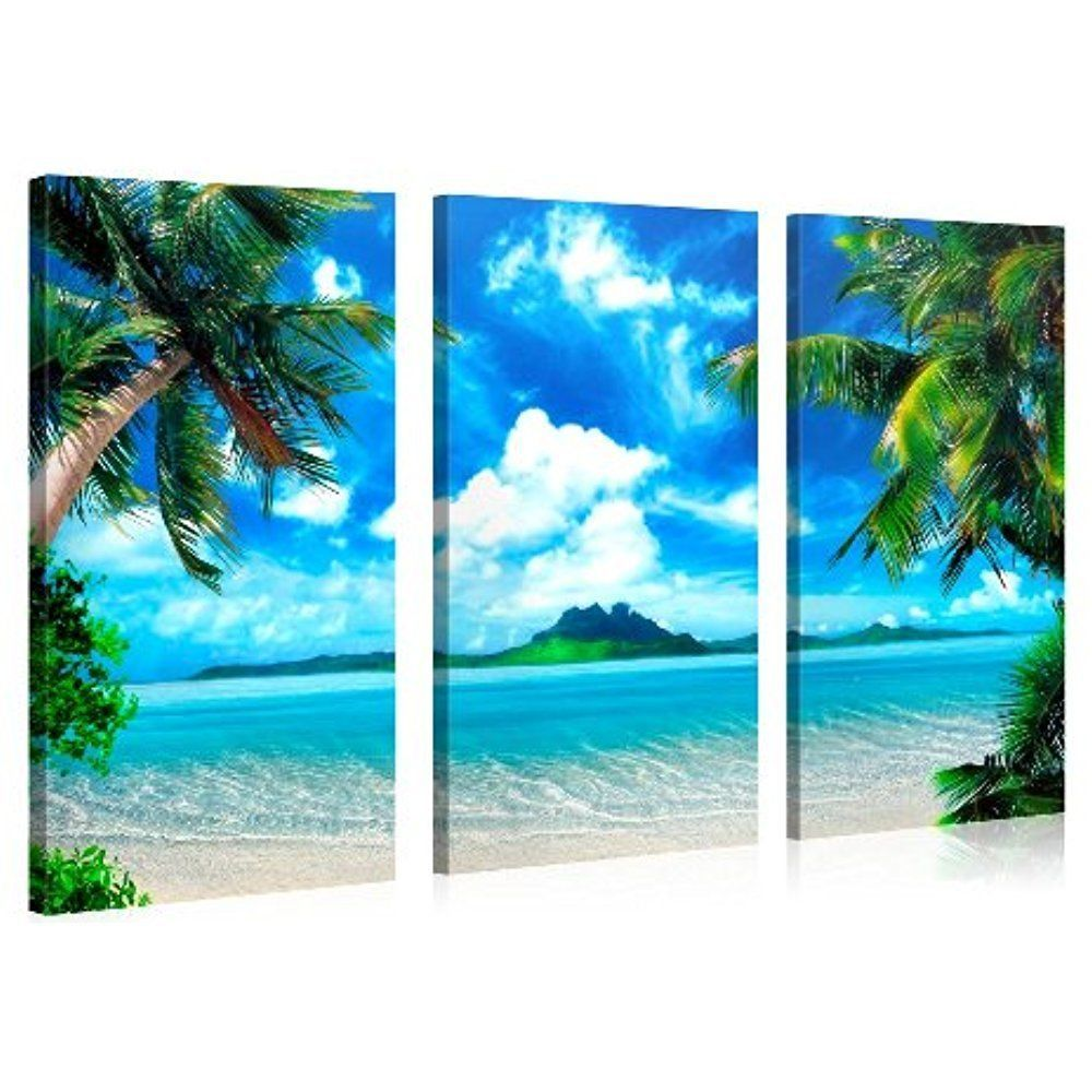 Framed Caribbean Paradise Beach Sea Picture Art Canvas Prints Wall Home Decor Galleryofinnovativeart Impressionism