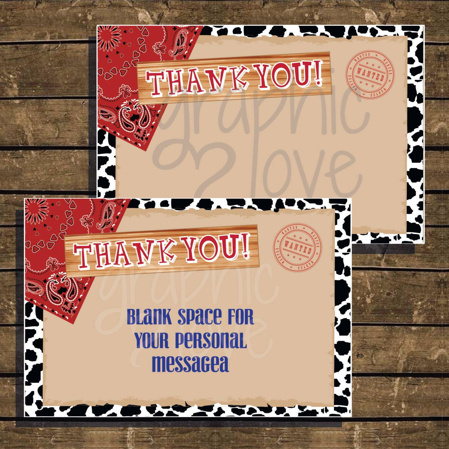 Cowboycowgirl Western Thank You Cards 4X6  Instant Download