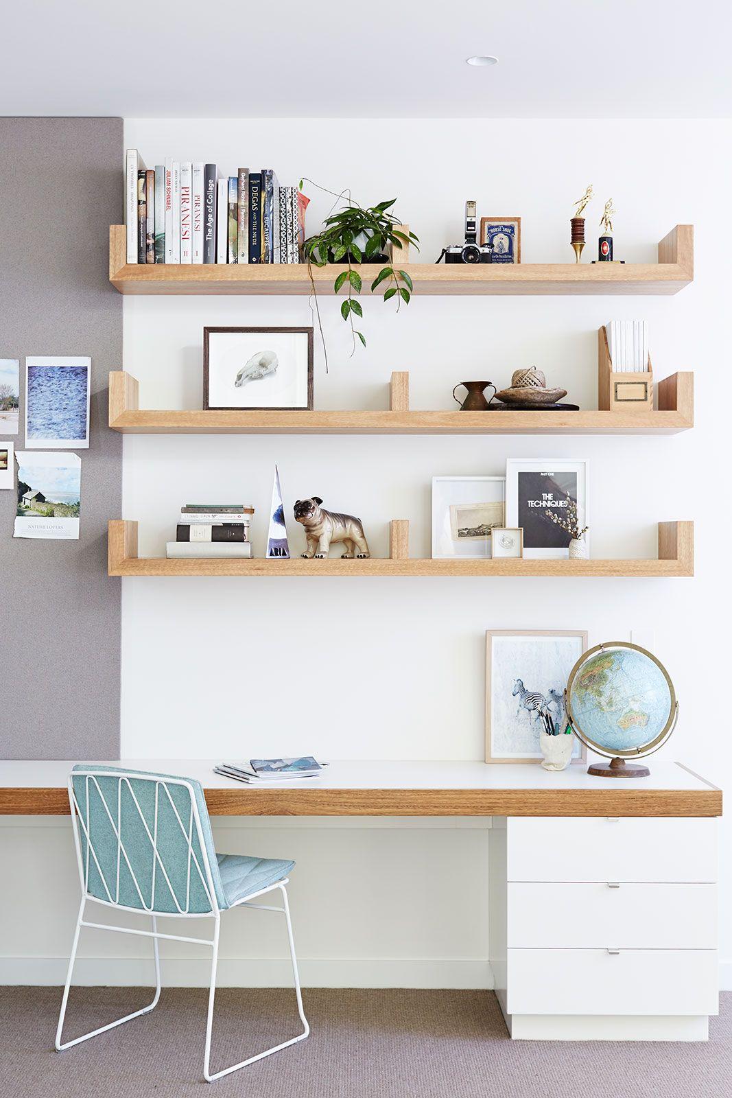 studio, workspace, desk, simple, shelving, storage, white | Studio ...