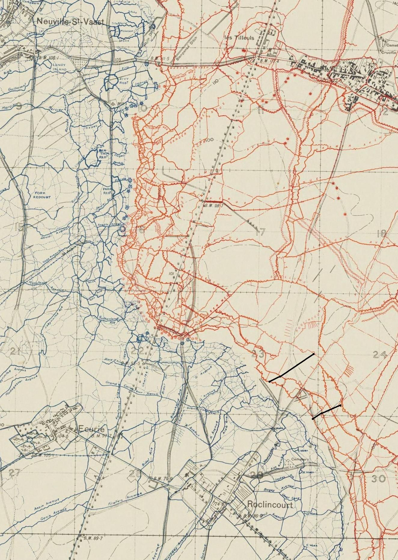 Trench Map : trench, Trench, Roclincourt-Neuville-Thelus, Sectors., Black, Lines, Boundaries, Seaforths, Attack, April, 191…, Kaarten,, Wereldoorlog,, Militair