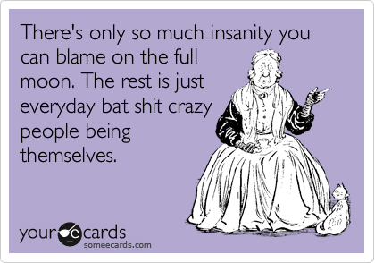 There S Only So Much Insanity You Can Blame On The Full Moon The Rest Is Just Everyday Bat Shit Crazy People Being Thems Funny Quotes Haha Funny Crochet Humor