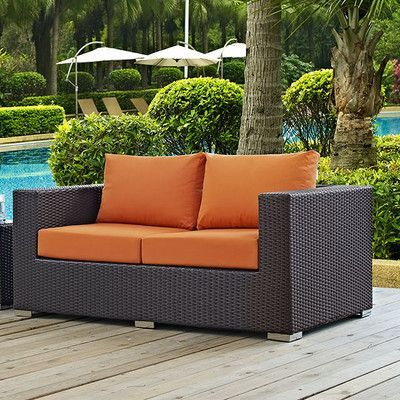 Latitude Run Provencher Patio Loveseat With Cushions In