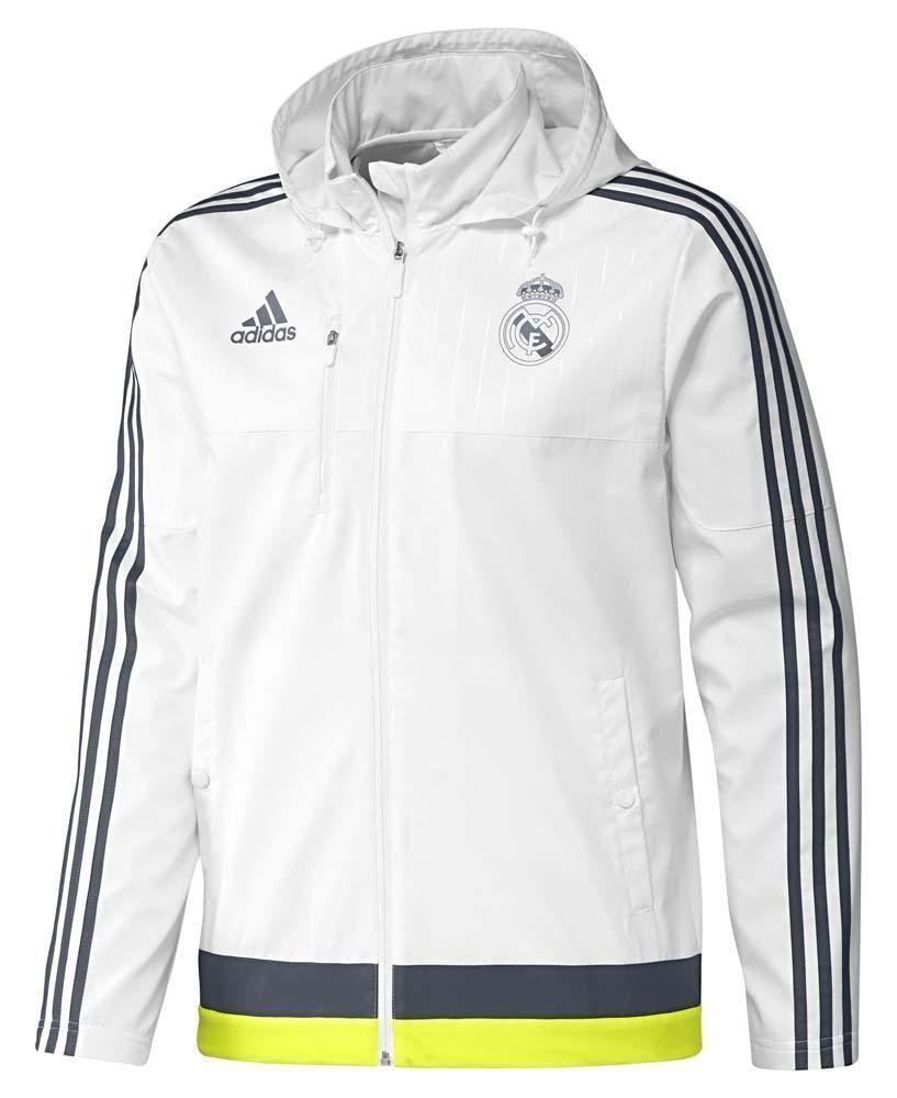 4e25e89ba0982 Adidas Real Madrid Travel Jacket 15/16 White Hooded Training Football La  Liga