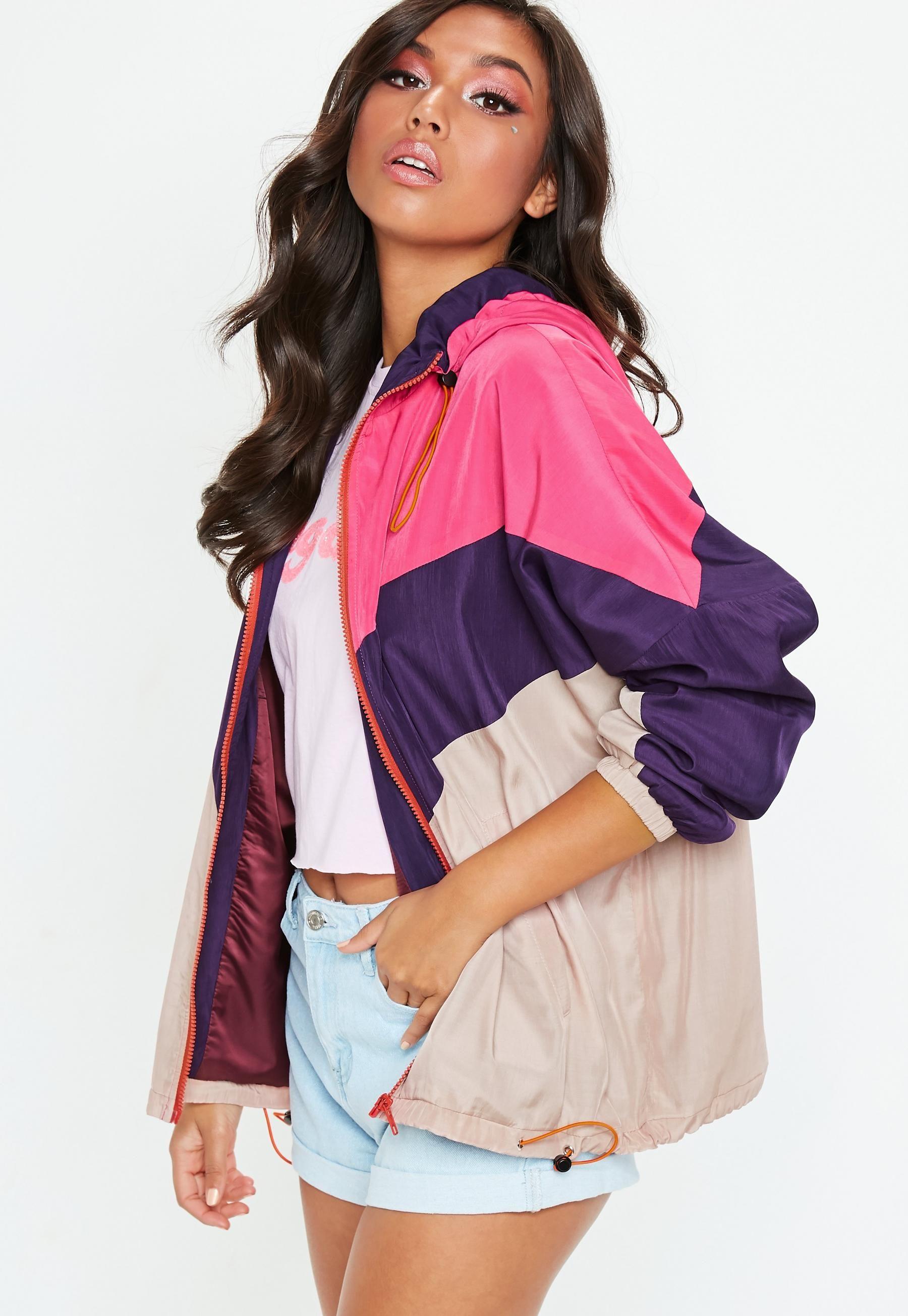 Pink Sporty Wind Breaker Jacket Missguided Australia