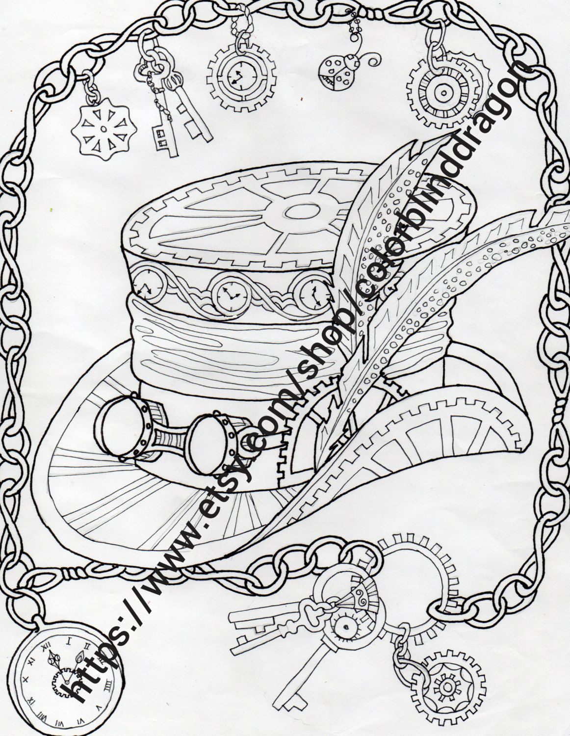 Steampunk Top Hat Coloring Page By Colorblinddragon On Etsy