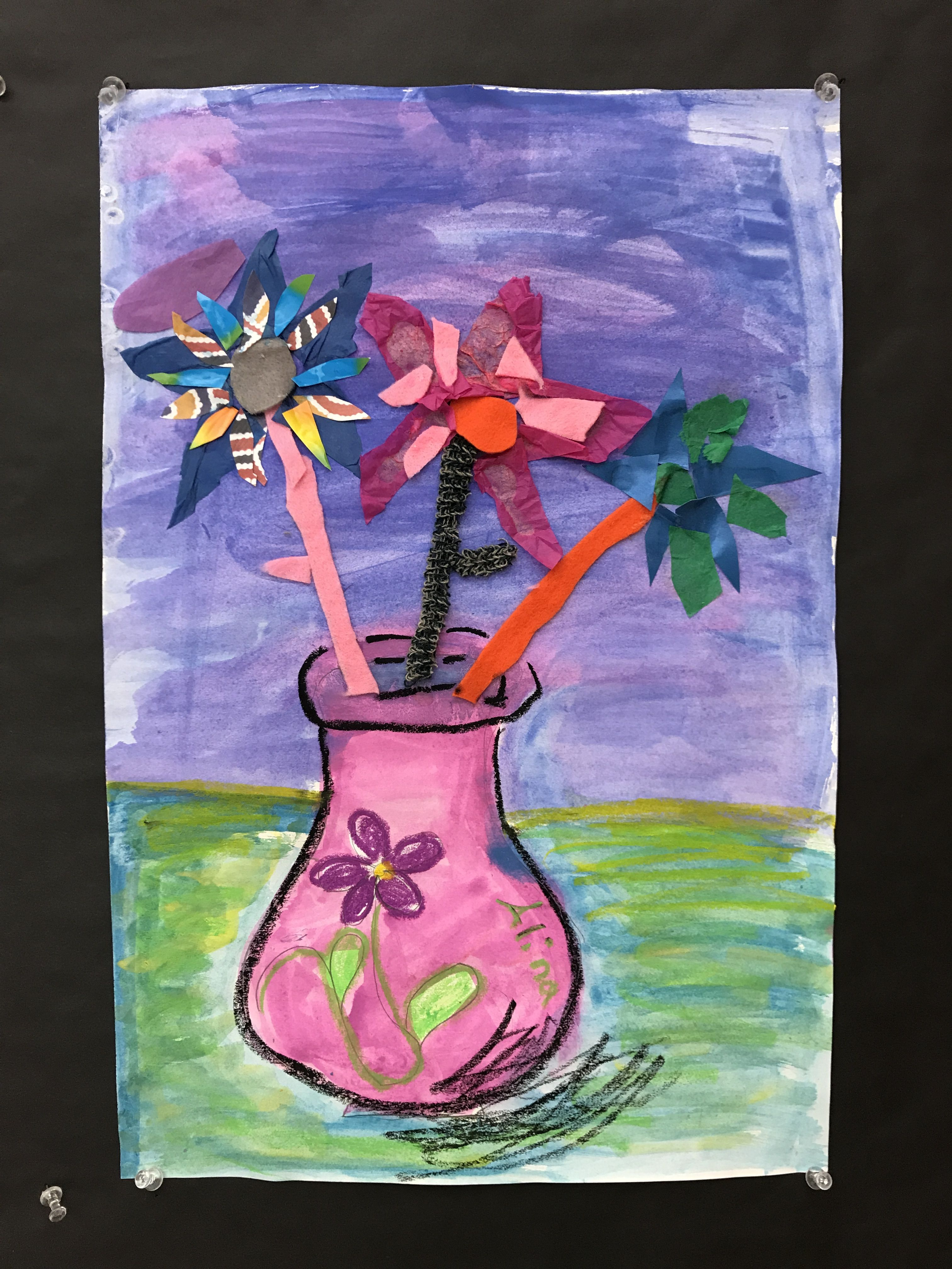 2nd grade mixed media flower pot inspired by vincent van