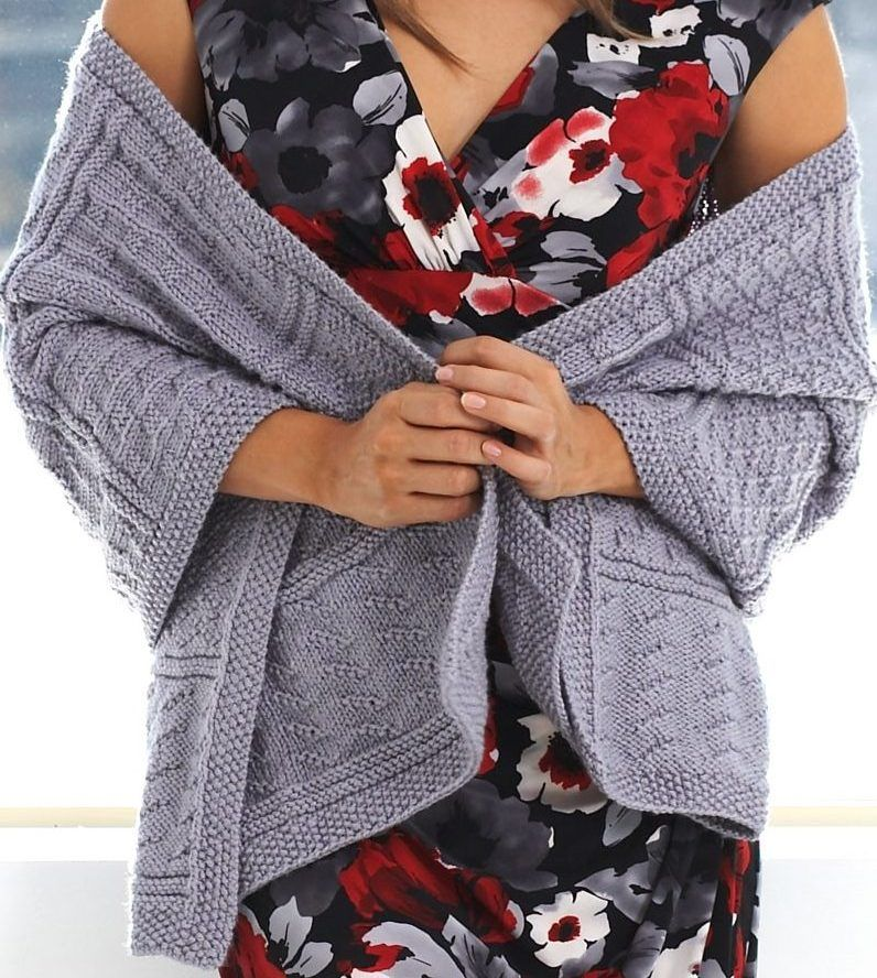 Free Knitting Pattern for Gansey Textured Stitch Wrap - Easy ...