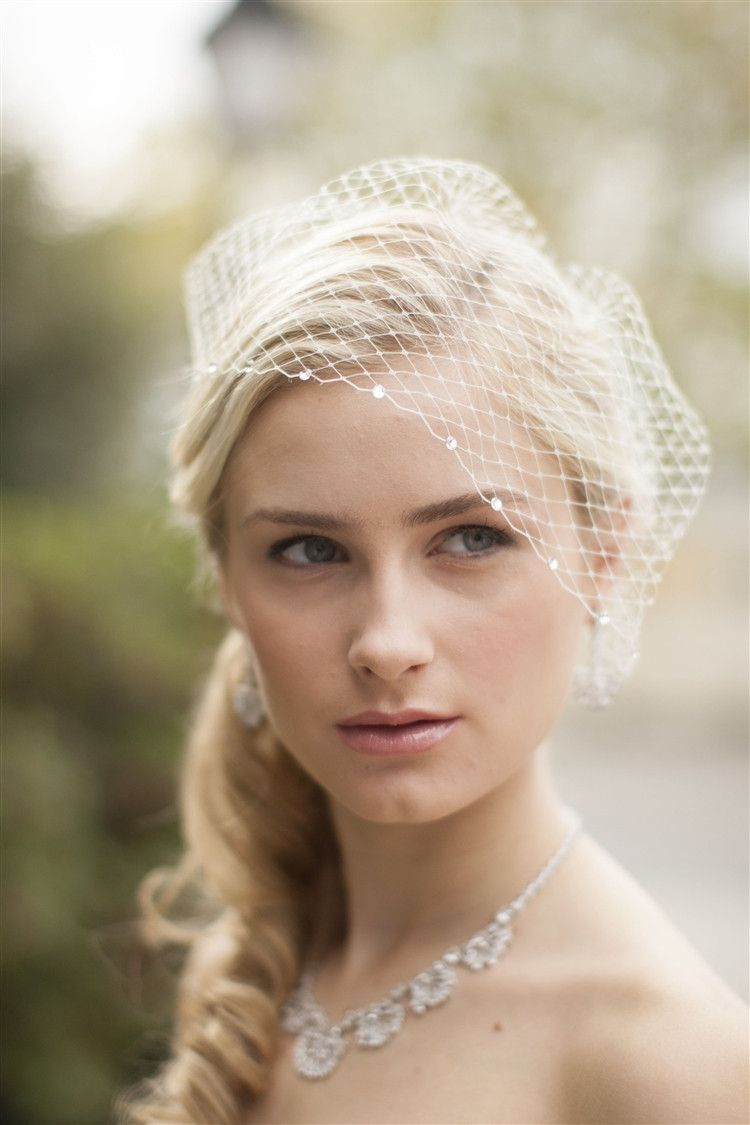 bold crystal ivory lace applique wedding veil with french net birdcage blusher scattered crystal edge